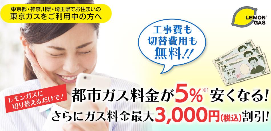 都市ガス料金が5%安くなる!さらにギフトカード2,000円分をプレゼント!